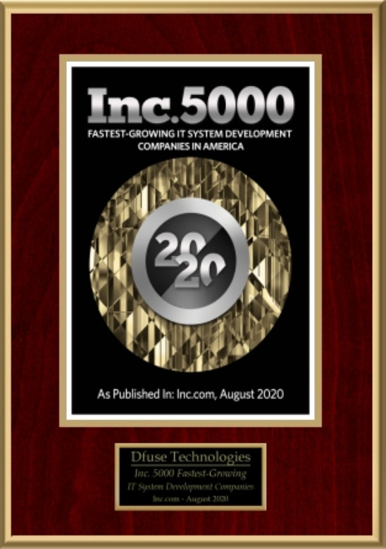 Inc. 5000 fastest growing IT system development companies in America, as published in Inc.com August 2020